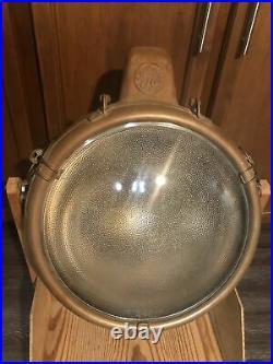 Vtg Antique GE Novalux Projector Copper Floodlight Spotlight Light Lamp