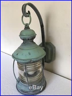 Vtg Antique Outdoor Copper Street Light Lantern Wall Sconce Lighting Nautical