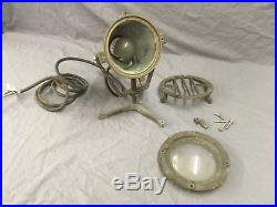 Vtg Cast Brass Industrial Marine Nautical Sealed Submersible Light Old 124-18E