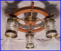 Vtg Ceiling Light Fixture Nautical Ship Wheel Maritime 3 Shade Rewired USA #C36