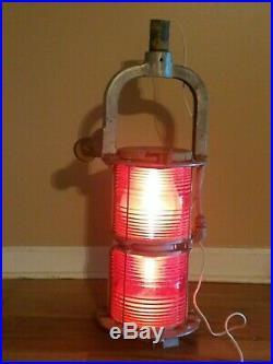 Vtg Large Marine Bridge Navigation Span Light Red Lantern B & B Roadway 31x13