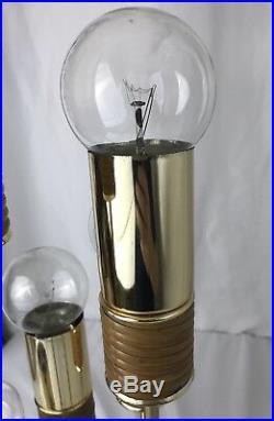 Vtg Mid Century 5 Light Tiered Table Lamp Clover Laurel/Sonneman Style Nautical