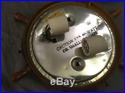 Vtg Mid Century Flush Mount Ceiling Light Ships Wheel Nautical Fixture 57-18E