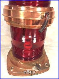 Vtg Nautical Light Double Red Glass Copper Case Electrified Rotterdam 1976
