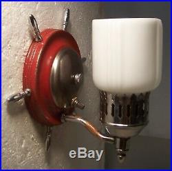 Vtg Nautical Sconce Light Fixture Chrome Bathroom Shade Pair 2 Rewired USA #F95