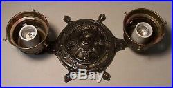 Vtg Nautical Ship Wheel Light Fixture Flush Star NSEW Cast Dual Rewired USA #F84