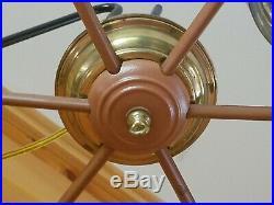 Vtg Nautical Ships Wheel Metal Ceiling Mount 3 Light Fixture Chandelier