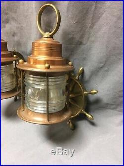 Vtg Pair Nautical Porch Sconce Light Fixture Ships Wheel Jelly Jar Glass 249-20E