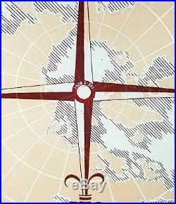 Vtg Rare/HTF Nautical World Map & Compass Glass Ceiling Light Fixture/Shade