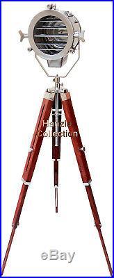 Wooden Chrome Floor Lamp Nautical Designer's Searchlight Vintage Spot Light