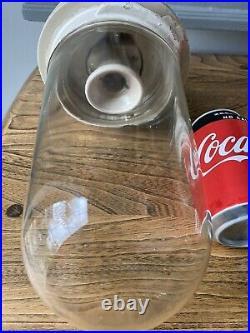 X2 Vintage Benjamin Vitrified Ceramic/glass Nautical Gantry Lights Cast Iron Top